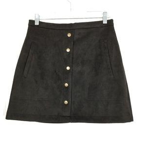 HYFVE Faux Suede Miini Skirt Black Pockets M
